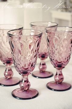 Mauve Wine Glass, for outside in the garden or luxury evening dinner Antique Dishes, Vintage Dishes, Vintage Glassware, Antique Glass, Color Mauve, Deco Rose, Lavender Cottage, Purple Kitchen, Purple Glass