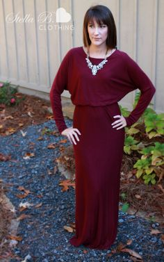 The Ultimate Long Sleeve Maxi Dress Winter Perfection- Navy, Black, or Burgundy