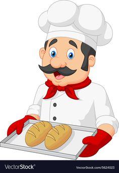 Cartoon Chef Serving bread vector image on VectorStock