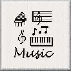 Music cross stitch pattern.