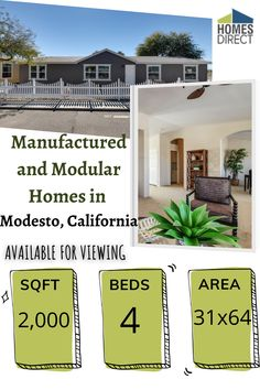 Cavco (Arizona) 4+ Bedroom Manufactured Home Value 3264A for $110071 | Model DVS3264A from Homes Direct Cheap Mobile Homes, Mobile Homes For Sale, Modular Homes, Virtual Tour, Home Values, Arizona, Floor Plans, Exterior, Bedroom