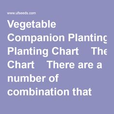 Vegetable Companion Planting Chart  There are a number of combination that vegetables will grow better and work together in the garden. Planting certain vegetables next to each other can deter insects and inhibit growth. Use this vegetable companion planting chart to design your garden and have better success!  Shop Our Vegetable Seeds  Compatible 	Combative 	Compatible	Combative	Compatible	Combative Asparagus	Asparagus	Beans	Beans	Beets	Beets  Basil Beets Lettuce Parsley Spin...