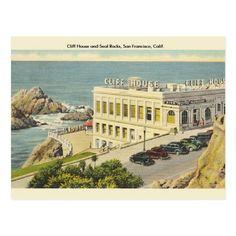 Cliff House San Francisco, San Francisco California, Places In California, Boston Public Library, North Beach, Vintage Postcards, Vacation, Seal, Rocks