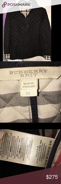 Brand new Burberry Brit quilted jacket (M) Authentic Very unique Burberry Brit quilted jacket in back. Size M and made in Romania. This classic style jacket will always be in style. Features 2 side pockets, 6 buttons front closure (not all are shown), the classic original Burberry checkers plaid in the interior and behind the collar. Brand new jacket only worn once! Open to offers. Clean and well cared for Burberry Jackets & Coats Pea Coats
