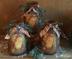 You are just going to lovethese wonderful Grungy Santa Luminares.    You will receivethe complete instructions to make these grungy jars plus the imageof the 1920's Vintage Santa postcard.