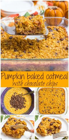 Pumpkin baked oatmeal with chocolate chips - a favorite fall breakfast that's gluten free and can be made ahead!