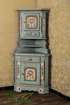 Voglauer Anno 1700 Eckschrank Bauernschrank Landhaus Schrank Massiv Blau Bemalt