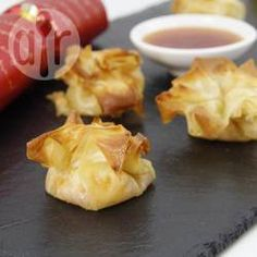 Recipe Print Brie and mango chutney filo parcels recipe - All recipes UK Canapes Recipes, Tapas Recipes, Appetizer Recipes, Cooking Recipes, Cooking Games, Cooking Pork, Cooking Classes, Nibbles For Party, Appetizers For Party