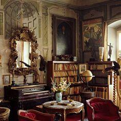 alphonse mucha's library and sitting room, prague, czech republic