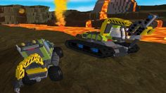 In Lego City Volcano, You are going to explore a lava mountain to find rocks for research purpose. The road will be rocky and there are random falling rocks and volcanic gas. Look for a blue area to pick your rock and send it back to the truck. There are 3 different vehicles that you can play and you need to play with the previous vehicle first before unlocking the new one. Collect as many studs in the map and do not get hit by rock or gas, or some of your studs will be dropped. Have fun!