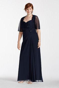 f0aa6324 Plus Size Long Sleeveless Chiffon Mother of Bride/Groom Dress with Chiffon  Shrug - Navy (Blue),