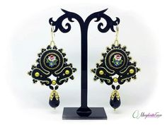 Vintage micro mosaic soutache earrings by 75marghe75 on Etsy