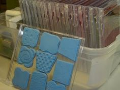 Tip:  Remove wooden block from rubber stamps and store in old CD cases.