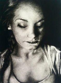 Charcoal Portrait, dense charcoal. #charcoal #AP #art #shading #contrast