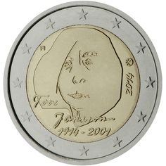 Finland commemorative €2 coin 2014 : 100th Anniversary of the birth of author and artist Tove Jansson. The inner part of the coin depicts Tove Jansson's portrait. Under the portrait the signature 'Tove Jansson' and the years '1914-2001'. At the left the indication of the issuing country 'FI'. At the right the year of issuance '2014' and the mint mark. The coin's outer ring bears the 12 stars of the European Union. Mintage: 1,500,000