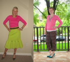 Jeanne says: Hot pink is a favorite of ours and rightly so because it goes with virtually everything! My top is actually a peplum top that I tucked into my skirt -- almost like wearing a dress as a...