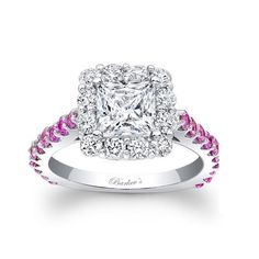 Princess-cut white diamond and pink sapphire ring14k white gold jewelryClick here for ring sizing guide