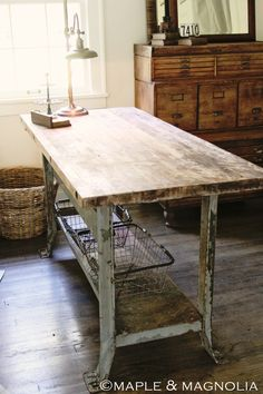 studio, office desks, old wood, craft tables, wire baskets, vintage industrial, kitchen islands, crafts, craft rooms