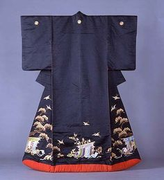 "Edo period uchikake (formal long outer kimono-robe worn open over the rest of the robes.)    This one has ""matsu"" (pines), ""kicho"" (Heian screens) and ""tsuru"" (crane birds), among other things.    The bottom hem is padded, as it always is on uchikake- this is so that the fabric doesn't damage as it drags behind the wearer (uchikake are long and are worn loose to trail behind the wearer.)"