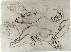 Hands, 1885 by Vincent van Gogh. Realism. sketch and study. Van Gogh Museum, Amsterdam, Netherlands