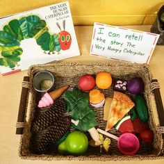The Very Hungry Caterpillar story basket for retelling. I like this idea. I think this is a great way to retell this story and I think students would have fun with this. Preschool Books, Kindergarten Literacy, Early Literacy, Literacy Activities, Preschool Activities, Preschool Lessons, The Very Hungry Caterpillar Activities, Hungry Caterpillar Craft, School