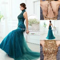 Wholesale Evening Dresses - Buy 2014 Sexy New Style Vintage Blue Gold Evening Dresses Mermaid Prom Dresses Formal Gowns Pageant Dresses Tulle Sequin Backless High Collar, $194.0   DHgate