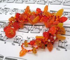 Beaded Bracelet  The Leaf Series  Vibrant Fall by randomcreative