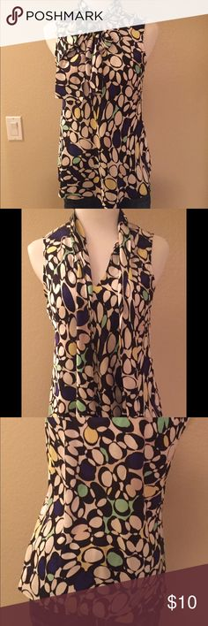 Nine West Sleeveless Blouse! Multi-colored sleeveless blouse - perfect for work.  Great in the summer on its own, or under a blazer in the fall/spring.  Great condition - only worn once or twice. Nine West Tops Blouses