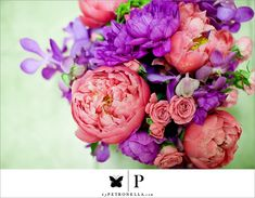 Love the color of the Peonies. Maybe a little more greenery and cream/white. with a splash of gold. no purple.