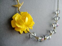 Yellow Necklace,Grey Jewelry,Bridesmaid Necklace,Crystal Necklace,Flower Necklace (Free matching earrings). $32.00, via Etsy.