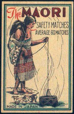 Old Japan Matchbox label Maori Designs, East Of Eden, Matchbox Art, Maori Art, Old Advertisements, Kiwiana, Light My Fire, Commercial Art, Lost Art