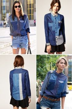 patchwork denim shirt Mais