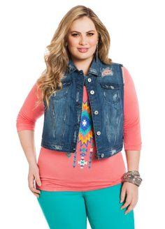 d772b089919 Jean jacket for women · Ashley Stewart Women s Plus Size Destructed Denim  Vest Plus Size Fashionista