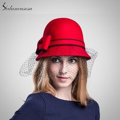 Winter 100% Wool From Australian Cloche Fedora Hat With Veil Round Brim Red Black Mesh Women Hat For Church Evening Check it out! #shop #beauty #Woman's fashion #Products #Hat