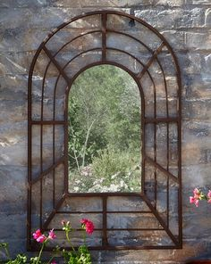 A garden mirror, whether a window mirror or rectangular mirror, is a great addition to your outdoor space – especially in small gardens – helping to bounce light into dark corners and spaces. Garden Mirrors, Garden Wall Art, Outdoor Mirrors Garden, Small Gardens, Outdoor Gardens, Patio Wall Decor, Back Garden Design, Window Mirror, Mirror Mirror