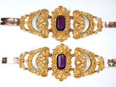 Georgian Pinchbeck Pair of Bracelets - yellow & pink pinch with faceted amethyst hued paste. The Three Graces