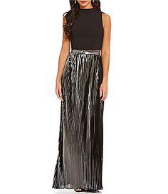 Aidan Aidan Mattox 2Piece Cropped Top Pleated Skirt #Dillards
