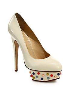 Charlotte Olympia - Dolly Studded-Platform Leather Pumps