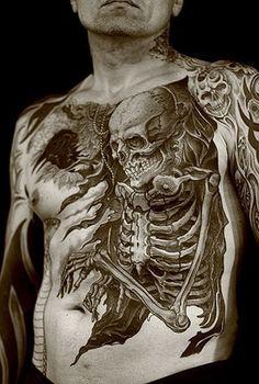 Both terrifying & beautiful: skeleton tattoo!