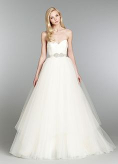 Bridal Gowns, Wedding Dresses by Blush - Style 1354 Garland Ivory strapless natural waist bridal ball gown with lace and organza ruched bodice, full tulle skirt, and detachable beaded sash with chapel train How To Dress For A Wedding, Wedding Dress Trends, Wedding Dress Styles, Wedding Ideas, Wedding Stuff, Wedding Inspiration, Tulle Wedding, Bridal Wedding Dresses, Dream Wedding Dresses