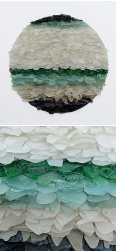 Jonathan Fuller ~ Beautifully gradated sea glass, embedded into cut wood panels. Ohh, so lovely. I want this in my house!