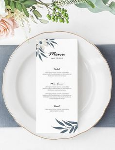This Minimal Wedding Menu Card Printable Template has a clean and modern design, features watercolor white floral and soft blue leaves over a clear background. A Wedding Menu Card Printable Template PSD file that you can download and fully personalize with Photoshop and it's perfect for DIY wedding and great as a budget wedding. Minimalist Wedding Invitations, Creative Wedding Invitations, Personalised Wedding Invitations, Watercolor Wedding Invitations, Wedding Invitation Design, Simple Wedding Menu, Minimal Wedding, Wedding Menu Cards, Budget Wedding