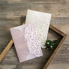 Elegant rose inspired laser cut invitations. #wedding #lasercut #invitation #weddinginvitation #laser #rose #floral