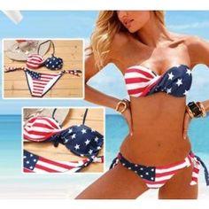Victoria Secret American Flag Bikini Set