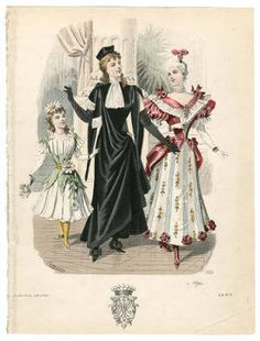 Costume Institute Fashion Plates, Theatre Costume 19th - 20th century, Plate 018. Metropolitan Museum of Art, New York. Costume Institute. (b17520939) | Fashion plate depicting 1890s theatre costumes. #metmuseum #costumeinstitute #fashionplates #1800