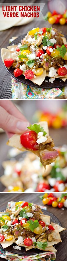 Light Chicken Verde Nachos are a healthy appetizer or fun dinner idea with a pile of baked corn tortillas topped with chicken breasts in a salsa verde and fresh tomatoes and queso fresco.