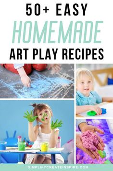 Have fun in the kitchen with these homemade creative play recipes you can make using ingredients you may already have. These thrifty art recipes for home mean you can make paint, chalk, playdough, slime and more, without spending a fortune! Give the kids hours of fun at home. Sensory play and creative play ideas. Craft Projects For Kids, Craft Activities For Kids, Easy Diy Projects, Craft Ideas, Homemade Paint, Homemade Crafts, Playdough Slime, Baking Soda Clay, Edible Finger Paints