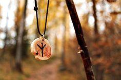 Nordic  Pagan  Viking wood ALGIZ rune amulet by LoitsuCrafts