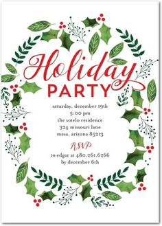 Verdant Holly   Flat Holiday Party Invitations In White Or Cabernet | Ann  Kelle  Christmas Invitation Template