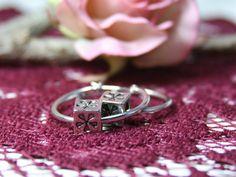 Silver Hoop Earrings, Latch Back Earrings, Euro Earrings, Silver Flower Earrings